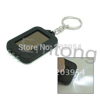 2014 New arrival 10pcs/lot wholesale black Mini Solar Power led Flashlight 3 LED Torch for mens keychain Cute FREE SHIPPING E072