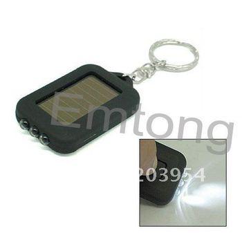 Free shipping on sale hot 2013 New Mini Solar Power led Flashlight 3 LED Torch keychain ring Cute 50pcs/lot sports black E072