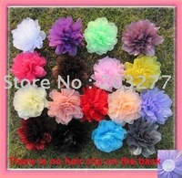 17 colors for your choose 41/2'' organza mesh silk flower
