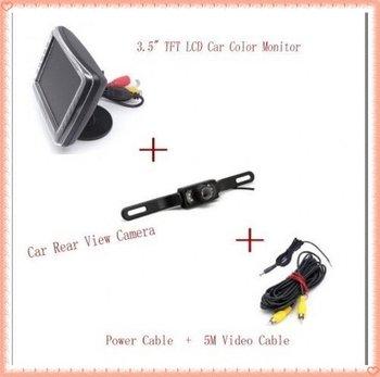 Drop shipping and retail  free shipping  3.5 LCD Monitor Backup Camera Wired Car Rear View Kit