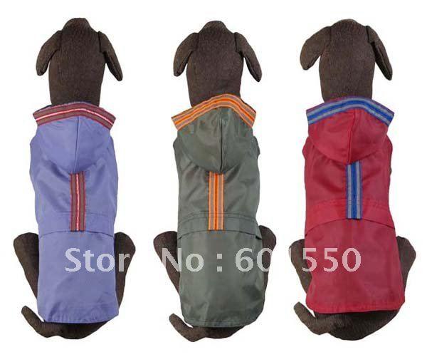 MOQ:10pcs/lot Large Dog Hoodie Raincoat With Safety Glisten line Nylon(L-XS/L-S),(medium/purple/olive/red) PetsHoodie Raincoat(China (Mainland))