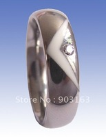 1pcs Wholesale Popular best selling New Arrival 6MM Tungsten Carbide & Ceramics Wedding Band Ring Size 9 + free shipping