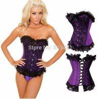 Women's Shaper Waist Cinchers Elegant Purple Lace Trim Corset + G-string
