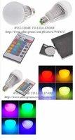 5PCS /Lot, Free shipping. E27 60MM 5W RGB Multicolored IR Remote Control Light Bulb (AC 85~265V)