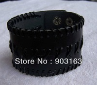Wholesale best selling New Guaranteed 100% Unisex Black Leather 3 Row Wristband Cuff Bracelet
