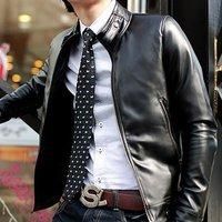 New Slim Sexy Top Designed Mens Pu Leather Jacket Coat Colour:Black US Size:XS,S,M,L (LZ09)