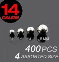 14g stainless steel ball mixed 4 size loose part of body jewelry 400pcs/lot