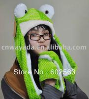 10 pcs/lot Free Shipping , Animal Panda Cartoon Cute Fluffy Plush Hat Cap with Gloves,Wholesale