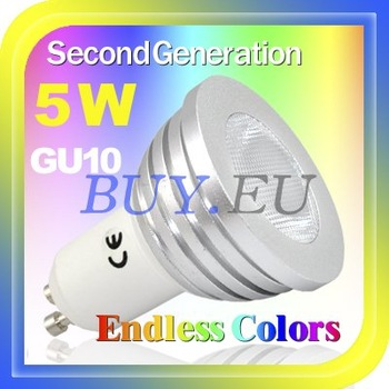 5 pcs HOT!Free Shipping! 5W GU10 Remote Control LED Bulb Light multi Color 85V-240V #5 x DQ0213