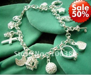 50% discount Promotion!Free shipping silver plated 13 charms bracelet.fashion jewelry.amaizing price