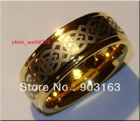 Wholesale 10pcs Best selling New Arrival Guaranteed 100% 9MM Tungsten Carbide 18K gold Wedding Band Ring + free shipping