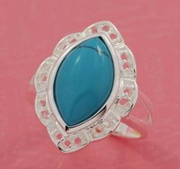 Free ship fee 925 sterling silver Zircon turquoise finger ring US standards size 7  R359
