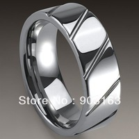 5pcs Best selling New Arrival Guaranteed 100% 8MM Man's Tungsten Carbide Slash Wedding Band Ring Gift By EMS shipping