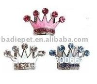 MOQ:20pcs!(Mix 3colors)Free Shipping!Czech Stones Enamel Crown Slide Pet Charm