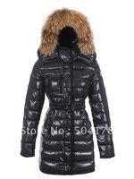 Brand Lady Down Coat Long Design Fur Collar Fashion Warm Women's Down Jacket Hoodies Snow Wear Jacket Outwear Free Shipping