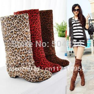 LOW HEEL Comforty WOMEN FASHION LEOPARD BOOTS KNEE HIGH H29 Free shipping(China (Mainland))