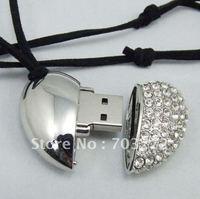5pcs/lot freeshipping A Heart OEM Jewelry USB Flash Drive 2GB/4GB/8GB USB disk drive 100%Full Capacity Wholesale+Retail