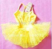 2015 Gymnastics Leotard Wholesale -, Girls Fairy Dress,yellow Color ,10 Pcs/lot,free Shipping Tutu,children Play Costume Dress