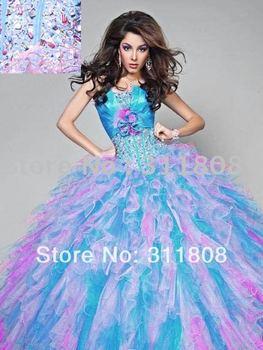 2013 superventas de la alta calidad del Organza de Tulle riza Azul Rosa vestido de quinceañera