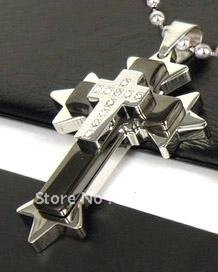 1X PCS best selling  New Arrival Guaranteed 100% Stainless Steel 316L Cross Pendant Chain Necklace + free shipping