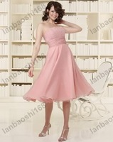 Wholesale/retail Free shipping Spaghetti Straps Ruching Knee-Length Chiffon & Satin Sash Bridesmaid Dress color free