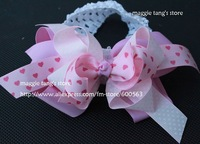 girls hair bows hair band headband -satin crochet headband with hair bow 30pcs/lot
