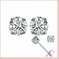 real pure 925 sterling silver earrings stud, cubic zircon silver ear nails, 925 silver jewelry earrings WE017w