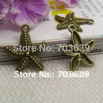 Free Shipping 50pcs Alloy Sea Star Pendants For Jewelry DIY, Fashion Bronze Stelleroid Charms, Jewelry Accessory
