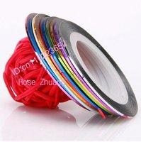 Freeshipping-10 colours mixed self-adhesive striping tape nail art metallic yarn decoration manicure wholesales SKU:XXXD0794