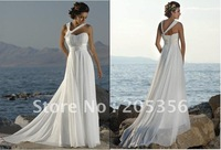 Free shipping custom-made size and color beach style sexy halter chiffon A-line wedding dress