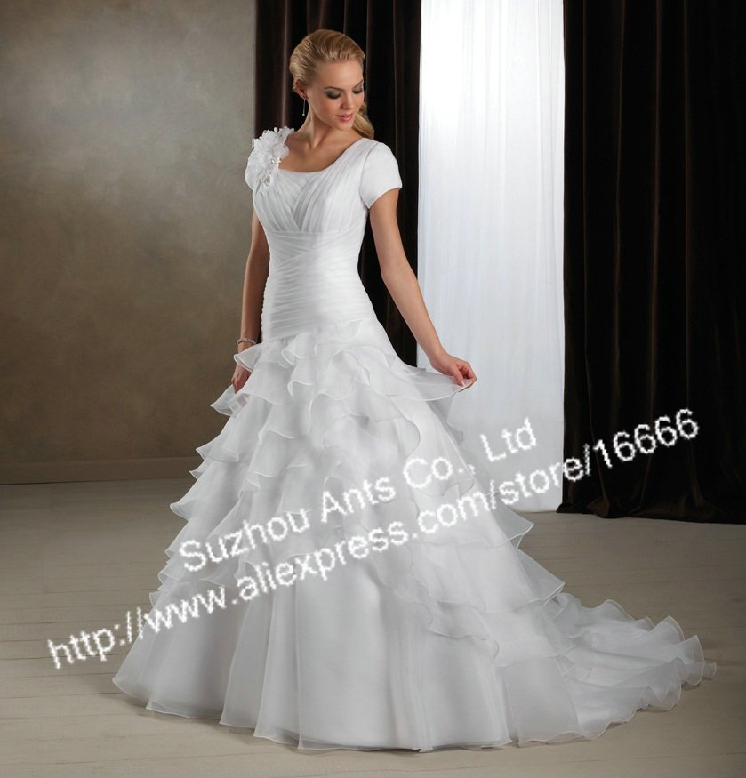 New Arrival Organza White short sleeve wedding dresses new york sl108(China (Mainland))