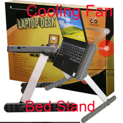 Folding Laptop table Desk Bed Stand Cooling Fan Notebook Cooler - sample(China (Mainland))