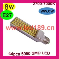 Wholesale+Free shipping:E27 8W LED PL Lamp,44pcs 5050SMD LED,3years Warranty LED downlight,E27 LED Spotlight LED Bulb