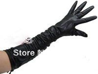 HOT SALE! Lady's long genuine leather black gloves S/M/L/XL free shipping ruffle mittens shape your hands