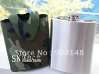 Free Shipping Stainless Steel Hip Flask With Camouflage Pouch 7oz Leather