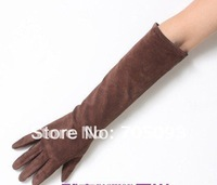 40cm long nubuck kid leather gloves Brown mittens S/M/L/XL free shipping wholesale Valentine's Day gift