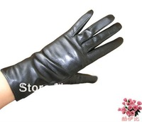 wholesale kid leather lady short  black gloves size S/M/L/XL customerized  gift free shipping