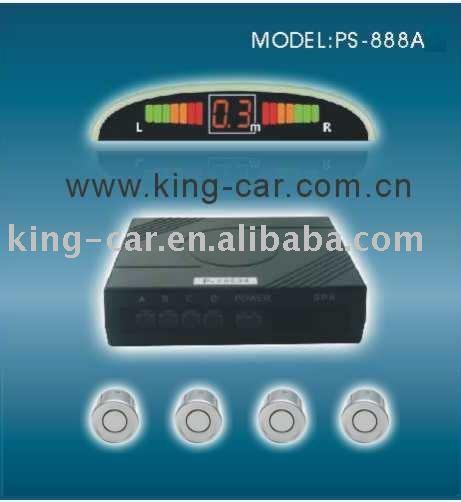 12Voltage 4 ultrasonic waterproof reverse sensor wired LED buzzer alart display car parking sensor PS-888-A(China (Mainland))