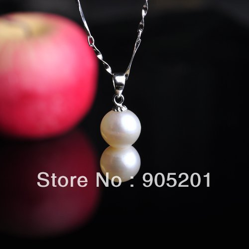 AAA 8-11mm bottle gourd shape Freshwater Pearl 925 Sterling Siver Chain 45cm 2 piece pendant+Wholesale&Retail+Free Shipping(China (Mainland))