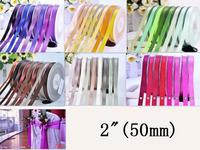 "2"" Double Face Satin Ribbon 50mm Wedding Ribbon For Making Flower Wholesale  100yard/lot"