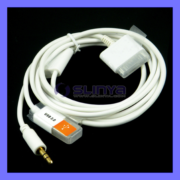 3 in 1 3.5mm Car AUX USB Charger Data Cable For iPhone 4 3G 3GS iPad iPod(China (Mainland))