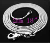 FREE SHIPPING! Wholesale 10pcs 925 sterling silver snake chain necklace 2MM 18 inch,925 silver jewelry,925 silver chain necklace