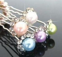 Shinning colourful pearl hair clip accessories wedding jewelry sets free shipping