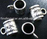 FREE SHIPPING 360pcs Tibetan silver floral cylinder european bead bail fit charm bracelet A417
