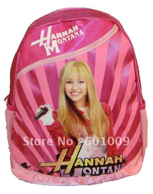 Frete grátis de alta qualidade Nylon Hannah Montana Backpack Pré Escola Bag New 1 Atacado e Varejo(China (Mainland))