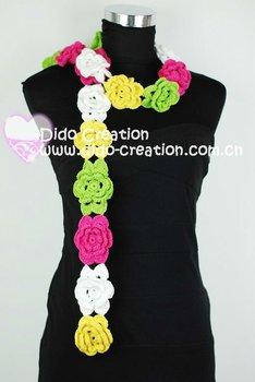 Free shipping S06A001C Handmade Crochet  Fashion Long Flower Scarf Shawl100% Cotton