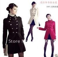 free shipping Napoleon military uniform double breast women  winter coat ,women jacket