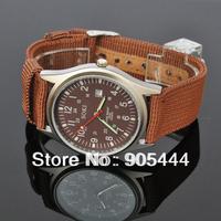 New SOKI Brown Color Date Analog Mens Military Sport Quartz Wrist Band Strap Watch W033