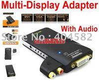 Free Shipping High Quality USB 2.0 Audio Multi-Display Adapter with DVI/HDMI/VGA/AUDIO (1920*1080 Max) HD graphics card