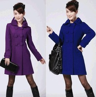 2014 Fashion Women Wool Coat Winter Warm Jacket Outerwear Lady Trench Coat Outdoor Double-breasted Poncho Coats